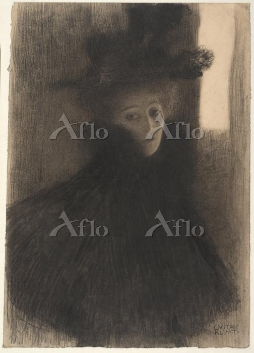 クリムト 「ケープと帽子をもとった夫人の斜め右からの肖像」
