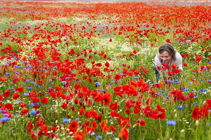 Woman smelling fresh flowers o・・・