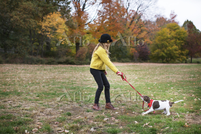 Girl playing dog in park durin・・・
