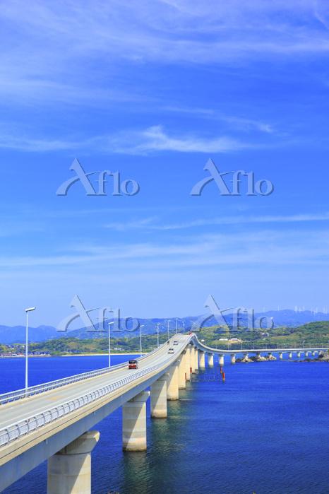 山口県 角島大橋 瀬崎陽の公園から望む角島大橋と海士ヶ瀬