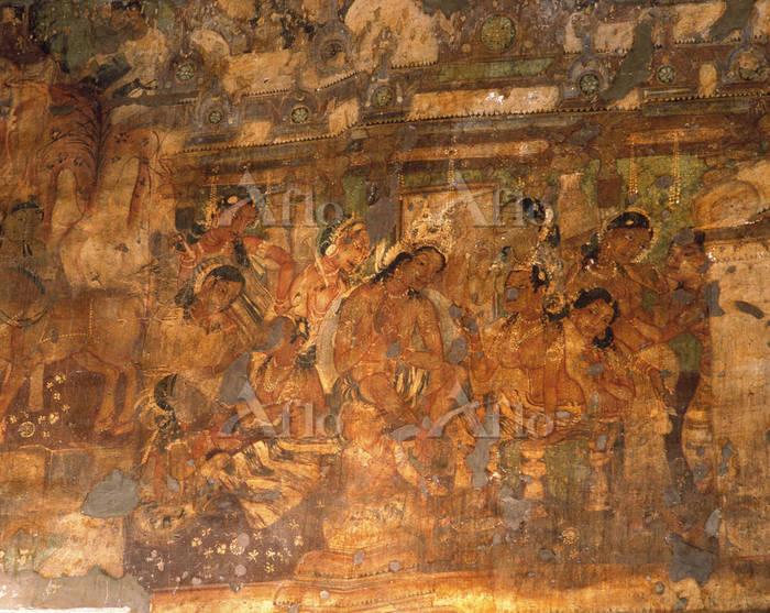 インド アジャンター石窟寺院第1窟の壁画