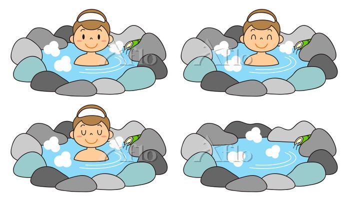 温泉に入る女性 露天風呂 セット