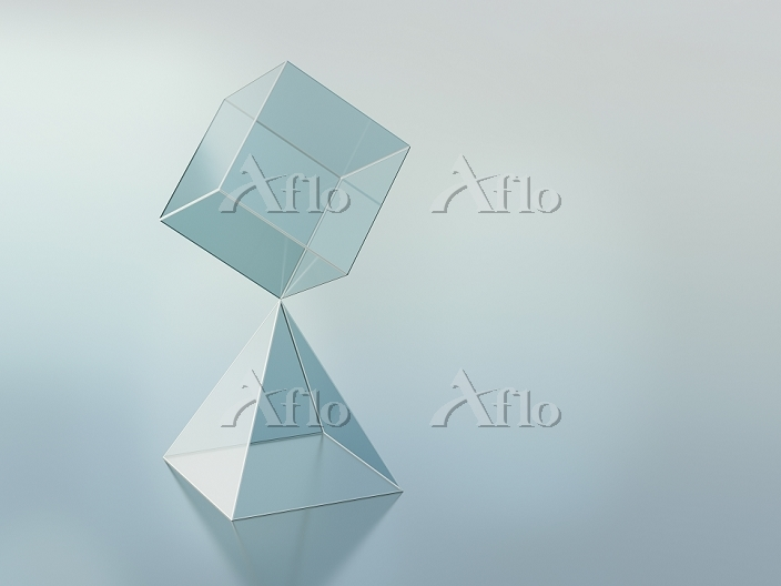 3D-Rendering, cuboid on pyrami・・・