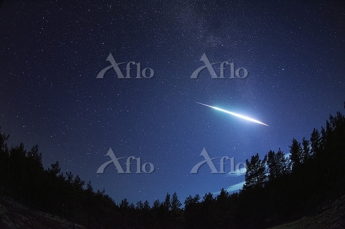 Bright meteor over forest in F・・・
