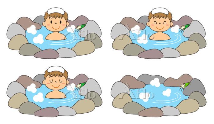 温泉に入る男性 露天風呂 セット