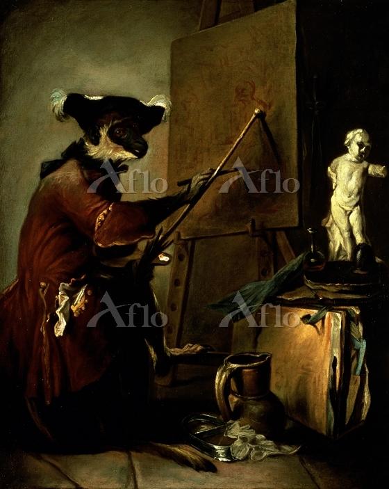 シャルダン 「画家に扮した猿」