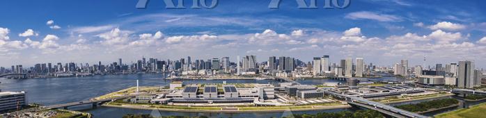 豊洲市場全景と東京ベイエリア周辺のビル群 パノラマ
