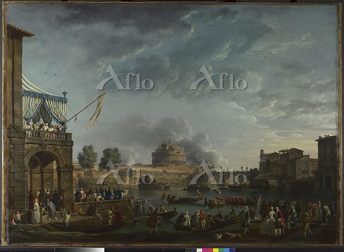 クロード・ジョセフ・ヴェルネ 「ローマのテヴェレ川での競技」