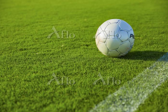 サッカーボールと芝生