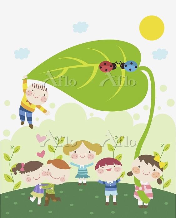 イラスト 自然の中で遊ぶ子供たち