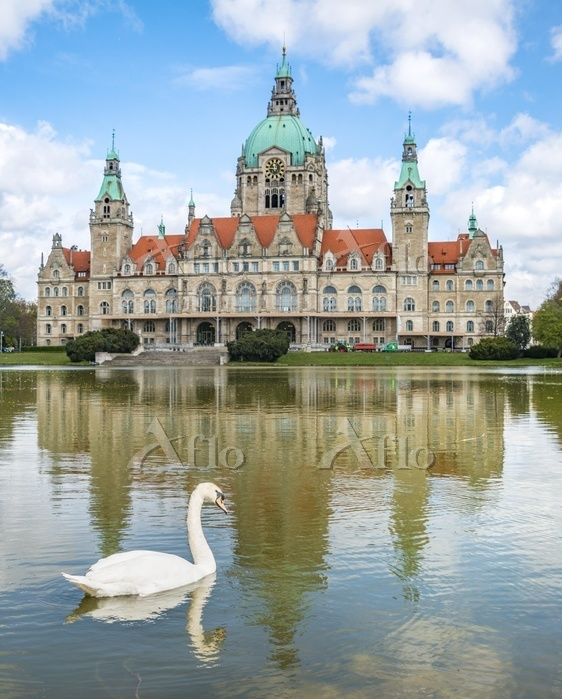 ドイツ ハノーファー市庁舎とハクチョウ