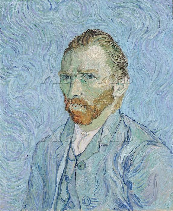 ゴッホ 「自画像(渦巻く青い背景の中の自画像)」 1889年