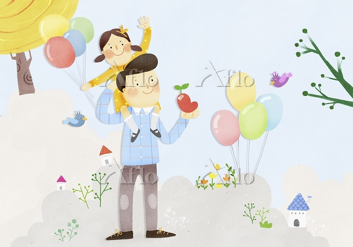 an illustration of a father an・・・