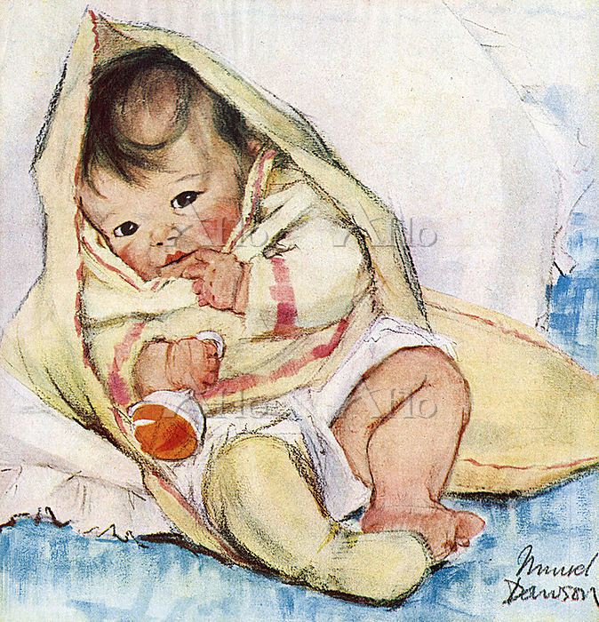 A baby wrapped in a blanket by・・・