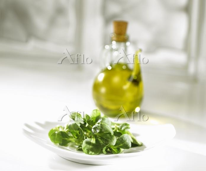 Corn salad on a plate with oli・・・