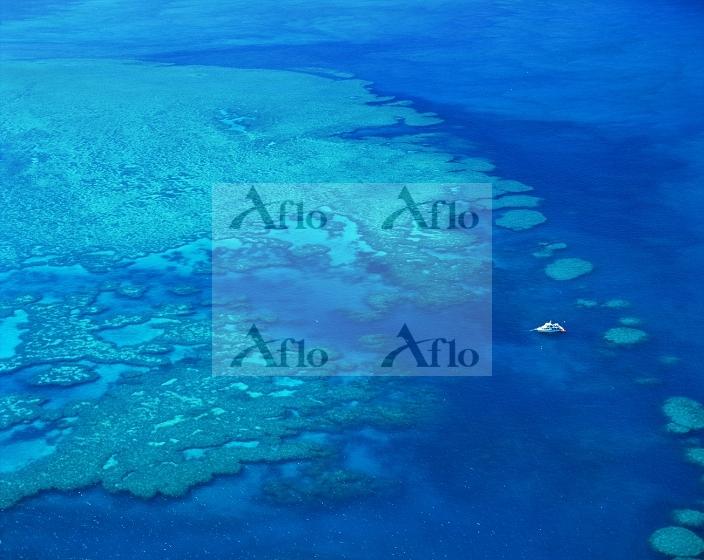オーストラリア 船とサンゴ礁