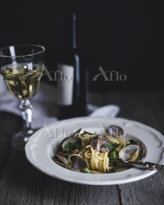 Vongole bianco served in plate・・・