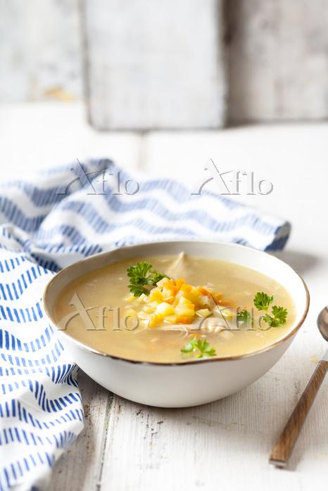Bowl of homemade chicken stock・・・