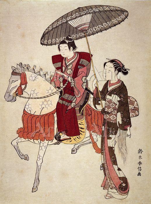 鈴木春信 「美人画 乗馬の若君」