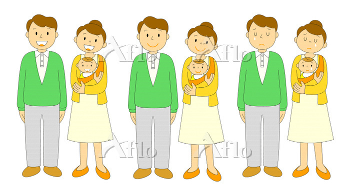 若い夫婦と赤ちゃん 喜哀楽のセット アウトライン黒