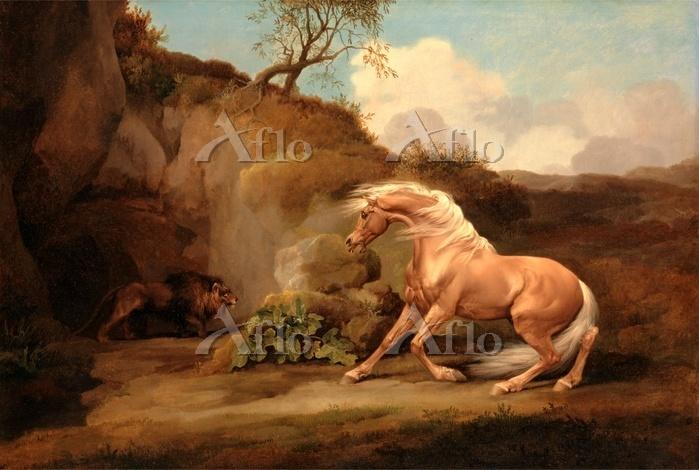 ジョージ・スタッブス 「ライオンにおびえる馬」