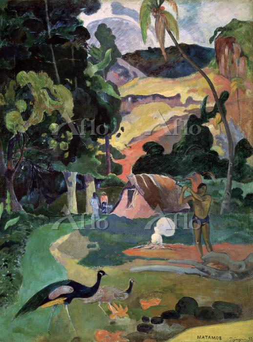 ポール・ゴーギャン 「マタモエ、孔雀のいる風景」