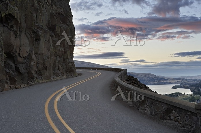 Sunrise with historic highway.・・・