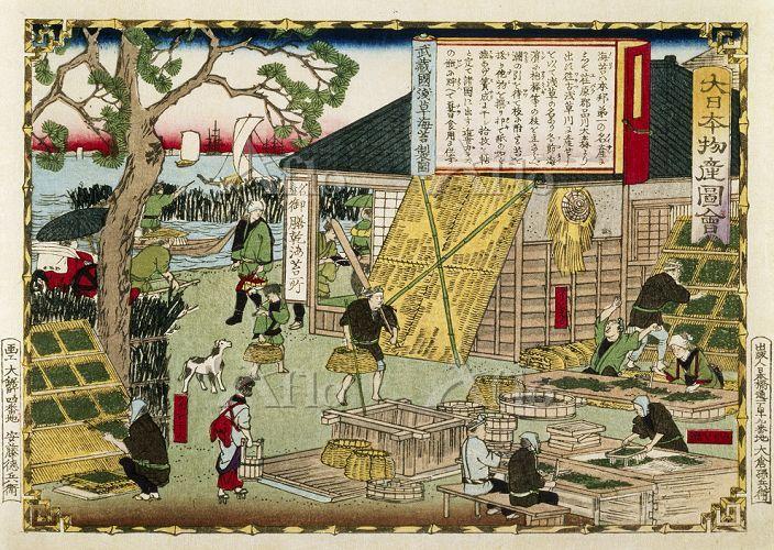 三代歌川広重 「大日本物産図会 武蔵国 浅草海苔製図」