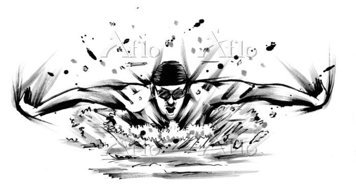 墨絵イラスト 水泳