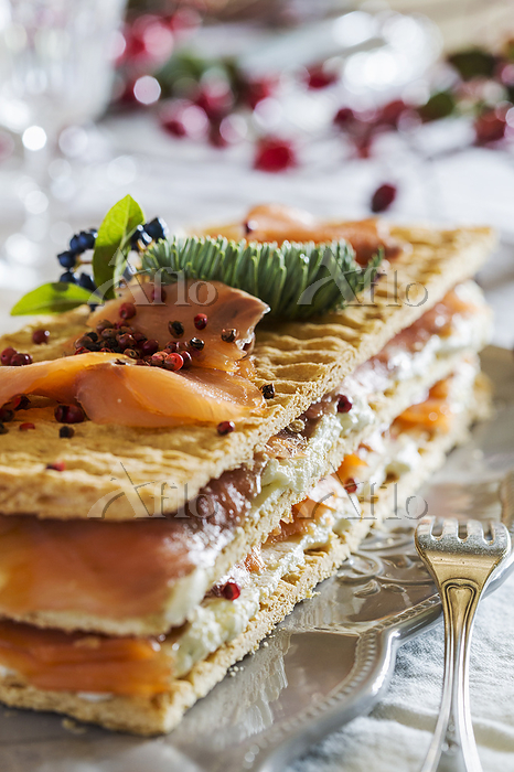 Salmon and cheese millefeuille・・・