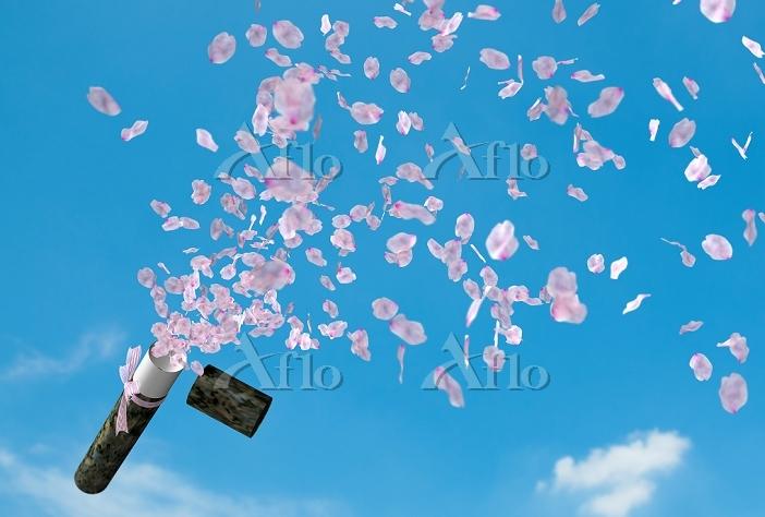証書筒から飛び出す桜の花びら