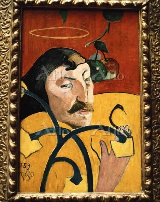 ゴーギャン 「戯画的自画像」 1889年