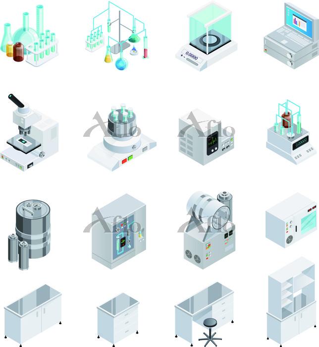 Laboratory Equipment Icon Set.・・・
