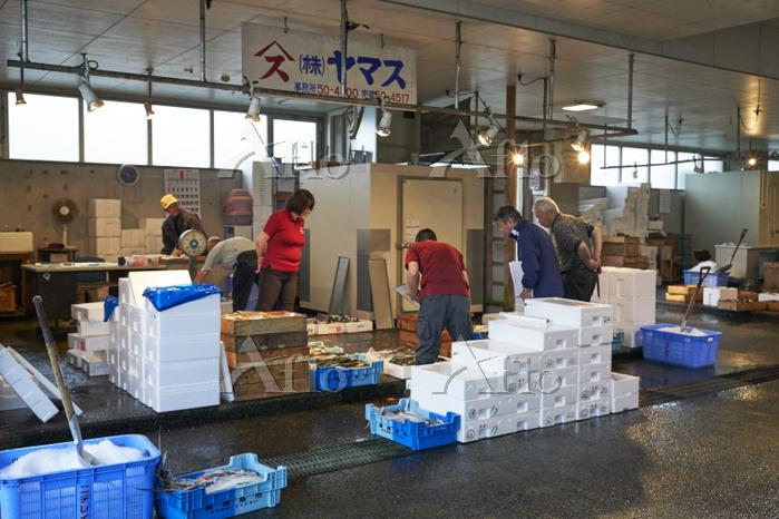 長崎漁港 仲卸業者の店舗