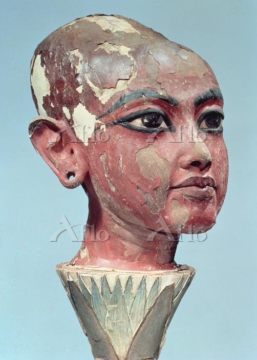 「ロータスの花の上のツタンカーメン王の頭部」