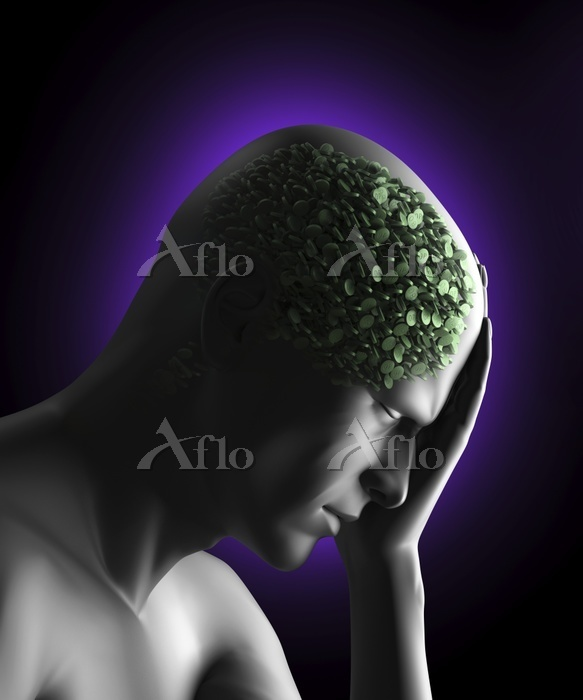 Figure with pills in head, ill・・・