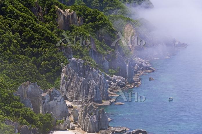 青森県 海霧かかる仏宇多(仏ヶ浦)と観光船