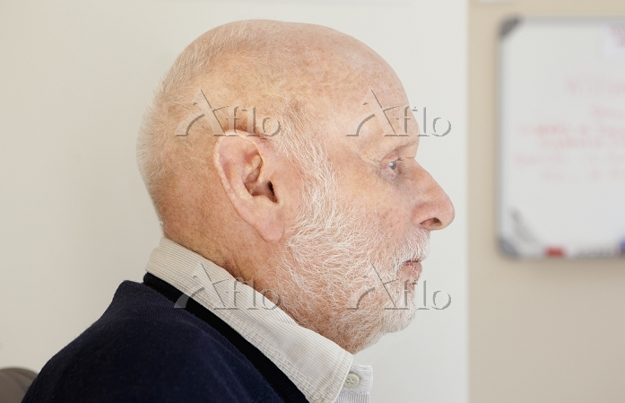 Older man's face in profile