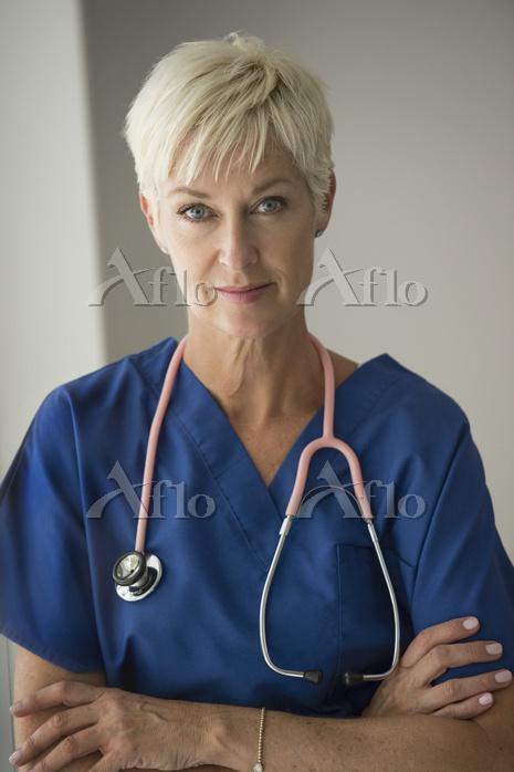 Serious Caucasian doctor