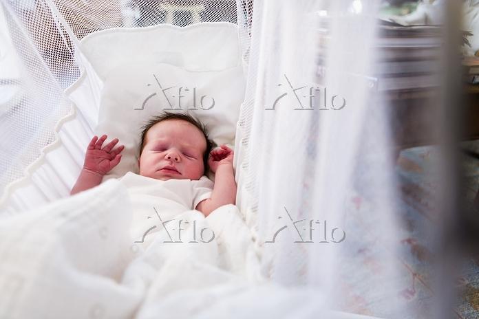 Caucasian newborn baby boy lay・・・