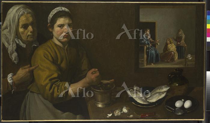 ベラスケス「マルタとマリアの家のキリスト」