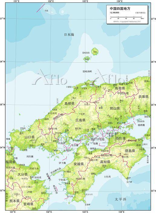 中国地方と四国地方 自然図