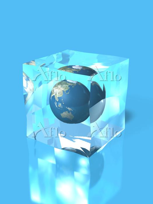 角氷の中の地球儀(アジア)