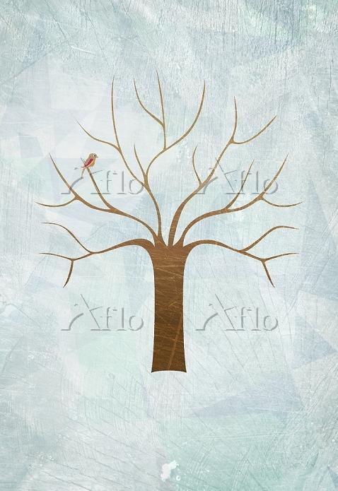 枯れ木に止まる小鳥