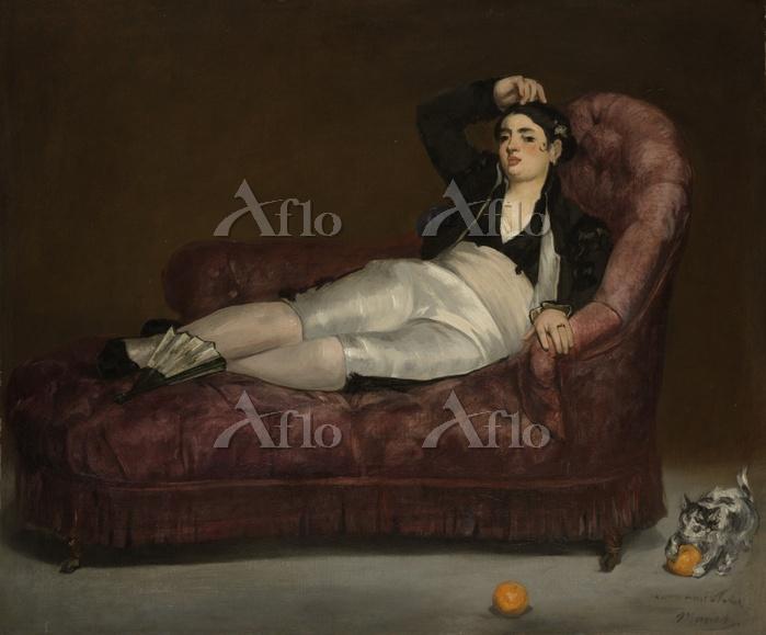 マネ 「スペイン風の衣装をつけて横たわる若い女」