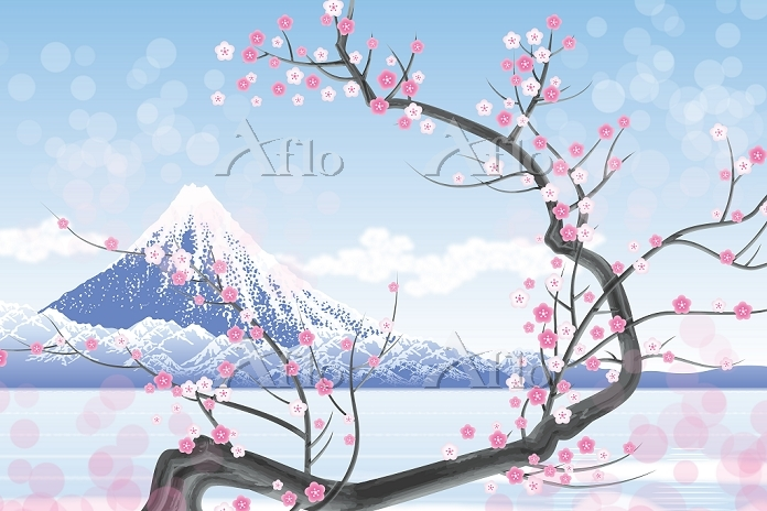 富士山と梅の花 イラスト