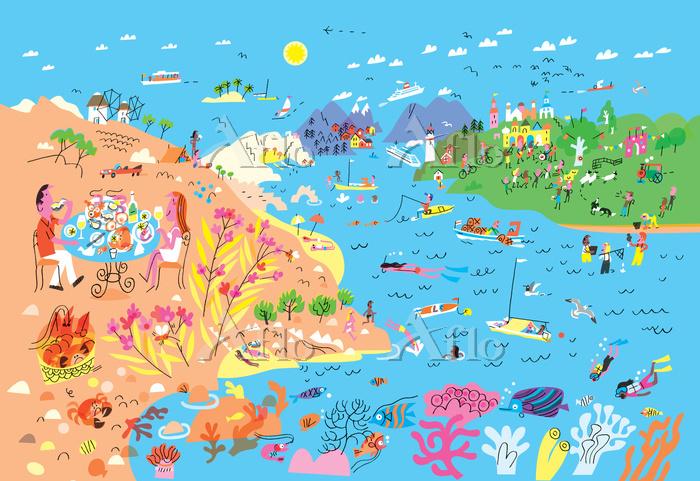 Summer scenery at seaside