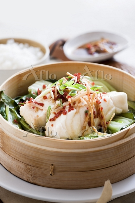 Steamed fish on a bed of bok c・・・