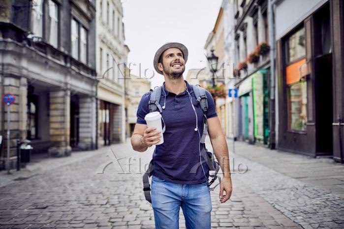 Traveler with backpack walking・・・