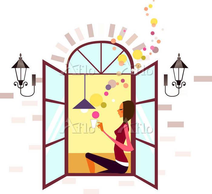 イラスト 窓辺でお茶を飲む女性